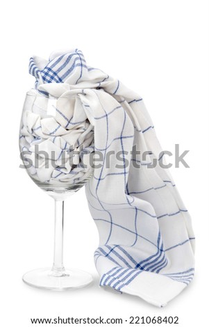 clean wine glasses with dishes - stock photo