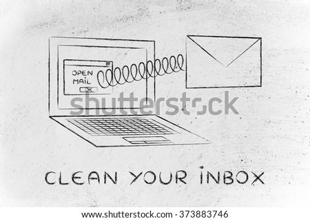 clean your inbox: email coming out of laptop screen with a screen - stock photo