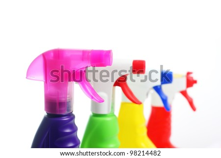 Cleaner in plastic bottles - stock photo