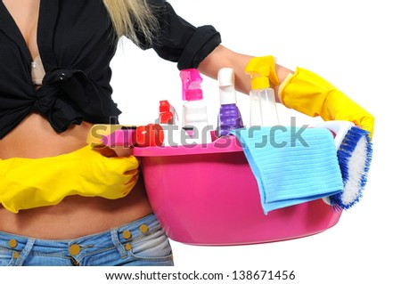 Cleaner woman. Isolated over white background. - stock photo