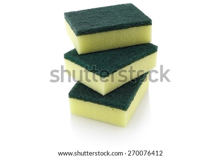 cleaners, household cleaning sponge for cleaning - stock photo