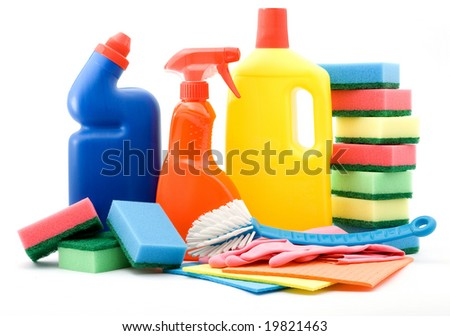 cleaning and sanitation products studio isolated - stock photo