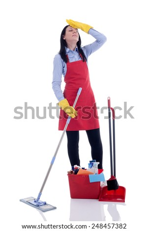 Cleaning: Annoyed Woman With Cleaning Supplies - stock photo