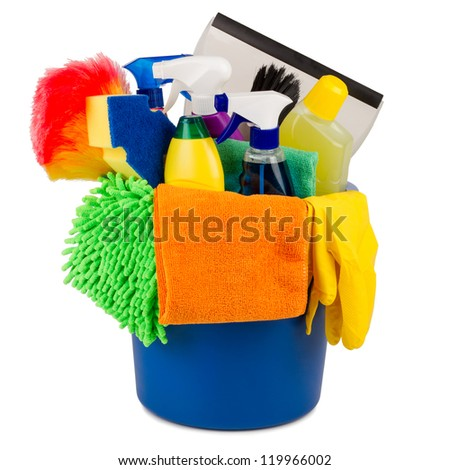 cleaning bucket in front of white background - stock photo