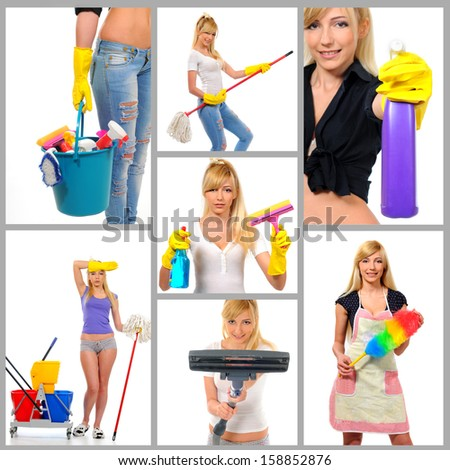 Cleaning. Collage of young beautiful woman doing housework isolated on white - stock photo