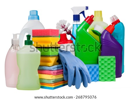Cleaning concept.Bottles and chemical cleaning supplies isolated on white - stock photo