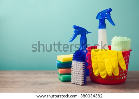 Cleaning concept with supplies - stock photo