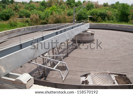 Cleaning construction for a sewage treatment - stock photo