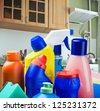 cleaning equipment against the kitchen - stock photo