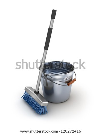Cleaning equipment. Bucket and mop over white - stock photo