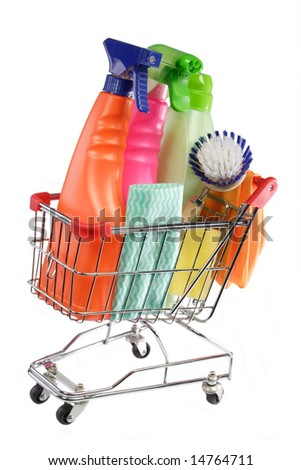 Cleaning equipment in a model shopping trolley on white background