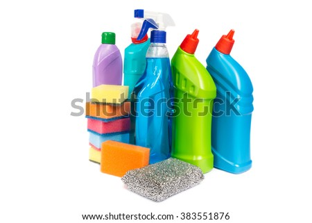 Cleaning equipment isolated on white background - stock photo