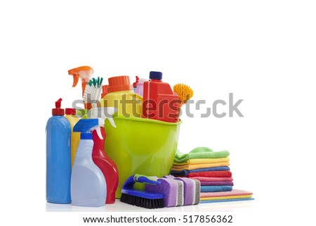 Cleaning equipment on isolated background