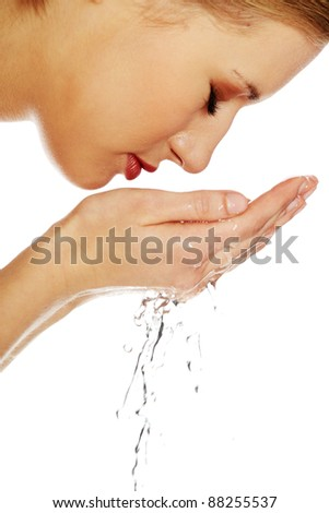 Cleaning face - stock photo