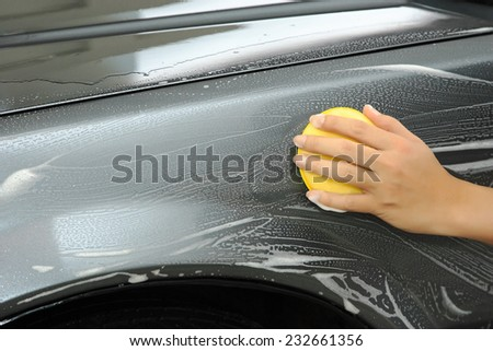 cleaning hand with a sink - stock photo