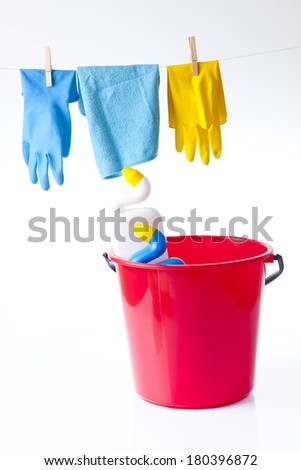 cleaning items and detergents isolated on white