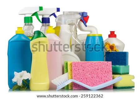Cleaning items and flower on white background