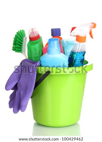 Cleaning items in bucket isolated on white