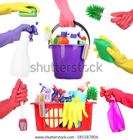 Cleaning items in hands isolated on white - stock photo