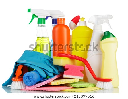 Cleaning items set isolated on white background - stock photo