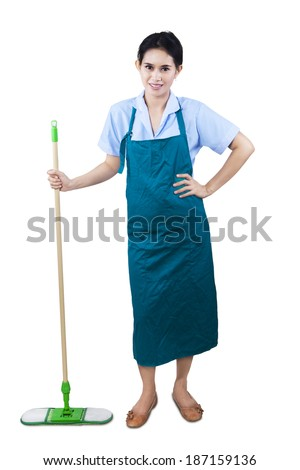 Cleaning lady holding mop standing on white background - stock photo