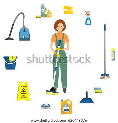 Quot Cartoon Cleaning Lady Quot Stock Images Royalty Free Images