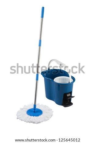 cleaning mop and blue bucket isolated on white background - stock photo