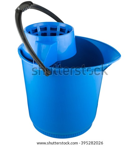Cleaning plastic bucket, blue