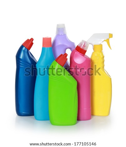 cleaning product plastic container isolated on white background