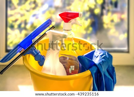 cleaning products, cleaning services, gloves, washing glasses - stock photo