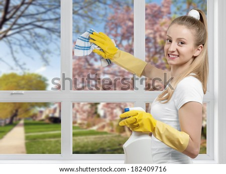 Cleaning service, woman cleaning a window detergent - stock photo