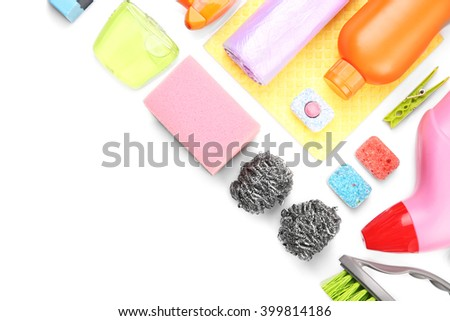 Cleaning set with products and tools, isolated on white