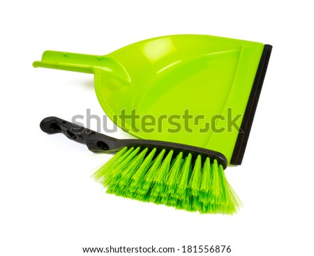 cleaning shovel and brush isolated on white