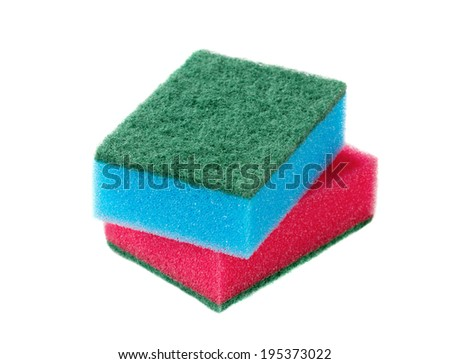 Cleaning sponges isolated on a white background - stock photo