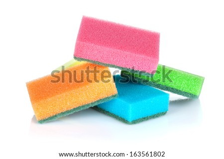 Cleaning sponges. Isolated on white background - stock photo