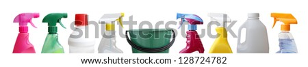 Cleaning sprayers, bottles and bucket. - stock photo