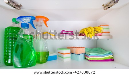 Cleaning supplies and tools arranged on shelves in pantry