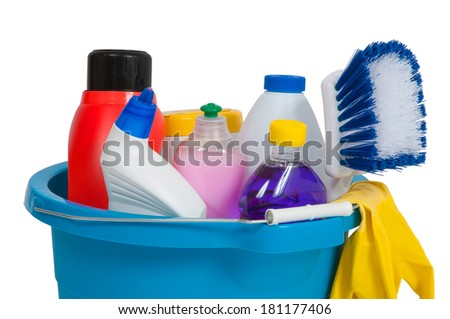 cleaning supplies in blue bucket - stock photo