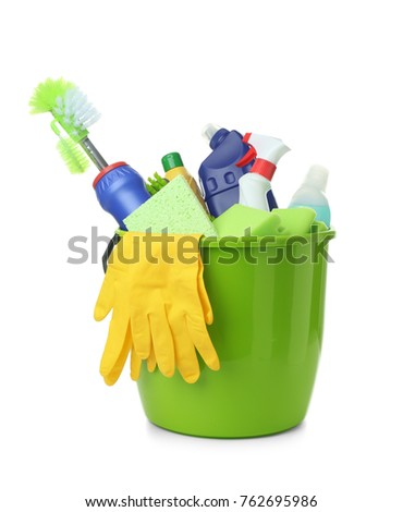 Cleaning supplies in plastic bucket, isolated on white