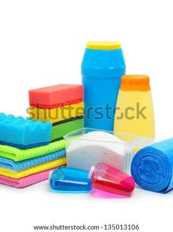 Cleaning supplies, sponge, cleaning powder and garbage bags