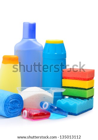 Cleaning supplies, sponges, cleaning powder and  garbage bags isolated on white
