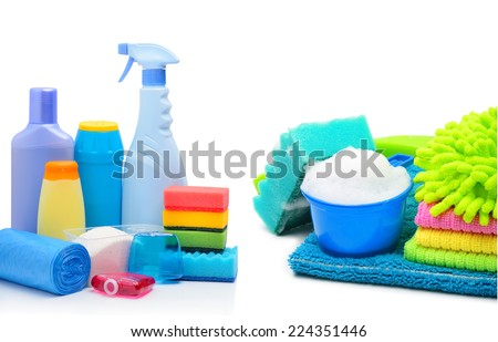 Cleaning supplies, sponges, cleaning powder and  garbage bags isolated on white. Collage - stock photo