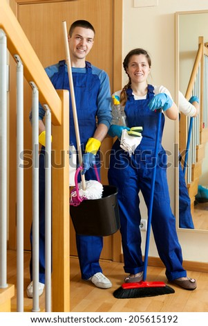 Cleaning team in uniform is ready to work