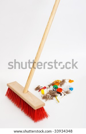 Cleaning the modern red mop mixed trash - stock photo