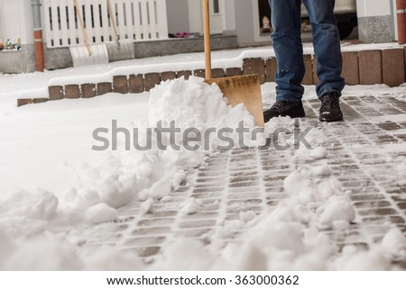 Cleaning the street from snow - stock photo