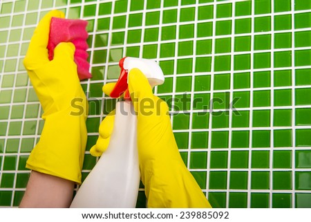 cleaning tiles in bathroom - stock photo