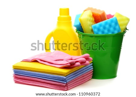 Cleaning tools and bucket on a white background. - stock photo