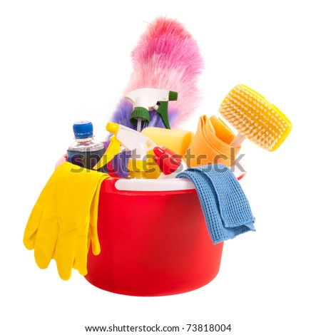 Cleaning tools in a red bucket isolated over white - stock photo