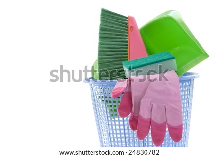 cleaning tools in Plastic bucket,isolated - stock photo