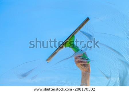 Cleaning, Window Washer, Window. - stock photo